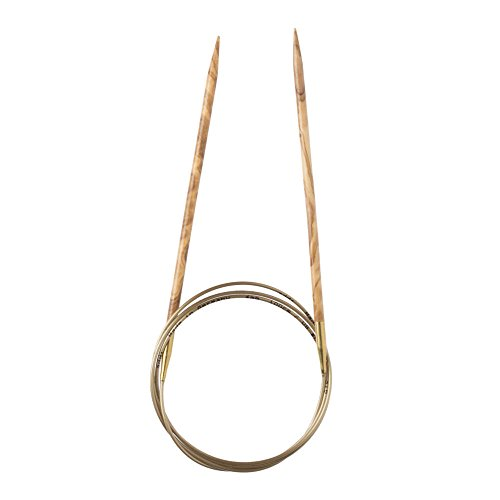 Addi Olive Wood 24 inch (60cm) Circular Knitting Needles; US size 7 (4.5 mm), Made in Germany - 575-7/60/4.5