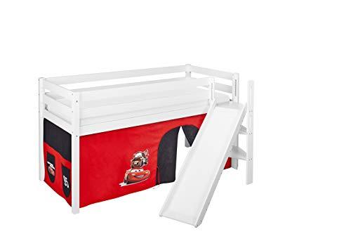 Lilokids Spielbett JELLE Disney Cars - Hochbett weiß - mit schräger Rutsche und Vorhang