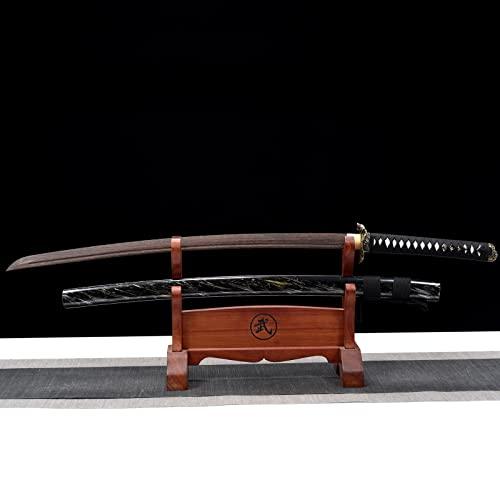 Espada de madera hecha a mano,espadas de samurái Iaido de madera de palisandro,con funda,accesorios de película y televisión Bokken,Katana de madera de cosplay para regalar,entrenamiento de kendo