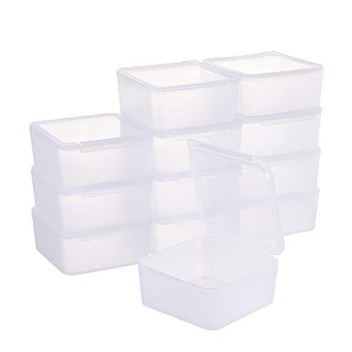 BENECREAT 12 Pack Platz bereifte freien Plastikkorn-Vorratsbehälter-Kasten-Kasten mit Deckel für Kleinteile, Pillen, Kräuter, Tiny Perlenschnur, Schmuck - (6,5 x 6,5 x 3 cm)