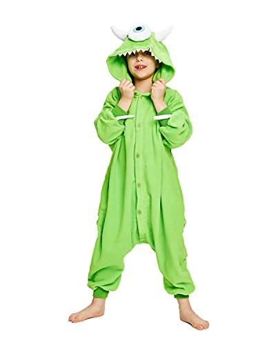 NEWCOSPLAY Halloween Unisex Child Mike Wazowski One-Piece Pajamas Costume (Mike Wazowski, numeric_10)