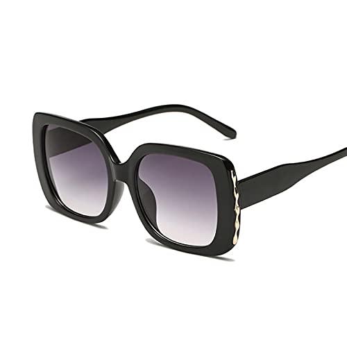 Gafas de sol cuadradas de gran tamaño retro de la moda retro negro marco gafas de sol negro