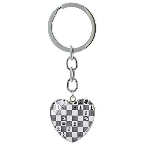 DdA8yonH Llavero Llavero Figura de ajedrez me Encanta el ajedrez Forma Corazón Colgante Llavero Llaveros Chess Lovers Joyas