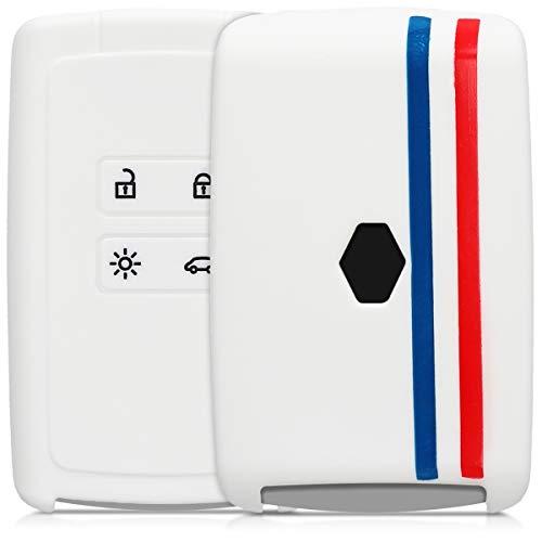 kwmobile Autoschlüssel Hülle kompatibel mit Renault 4-Tasten Smartkey Autoschlüssel (nur Keyless Go) - Silikon Schutzhülle Schlüsselhülle Cover Frankreich Streifen Blau Rot Weiß