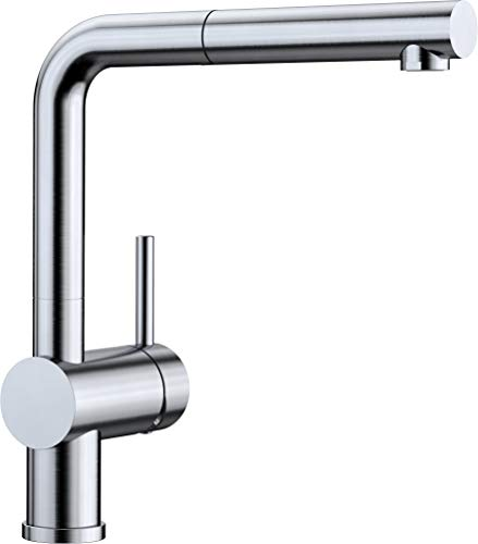 BLANCO LINUS-S – Moderne Küchenarmatur mit herausziehbarem Auslauf – Hochdruck – Edelstahl finish – 512404