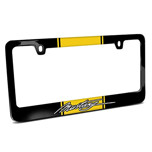 Ford Mustang Script Yellow Racing Stripe Cover Chrome Black Metal License Plate Frame Holder