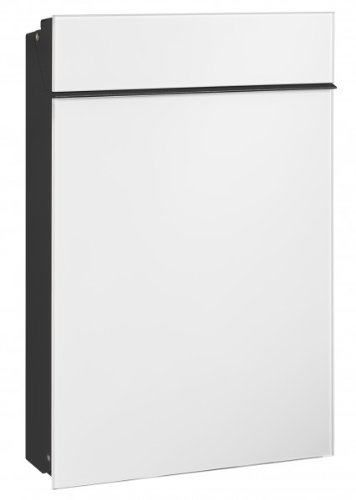 Serafini Briefkasten Flat Stahl schwarz/Front Glas verkehrsweiß 45,8 x 30,7 x 9,4 cm
