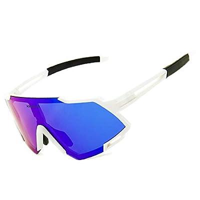 JOGVELO Sport Sunglasses Polarized for Men UV400 Protection con 3 Interchangeable Lens for Cycling Running Baseball Golf, White