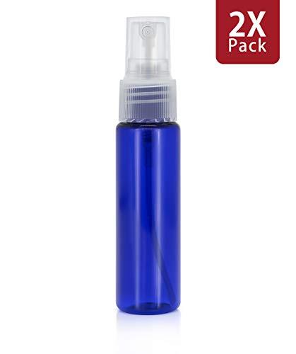 MyGadget Juego de 2 Botellas de Spray Vacías (30 ml) - Recipientes de Plástico Rellenables para Desmaquillante Aceites Esenciales Perfume Agua - Azul Oscuro