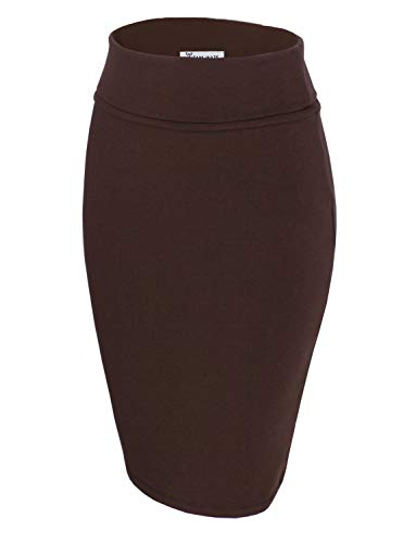 TAM WARE Womens Casual Convertible Knee Length Pencil Skirt TWCWS02-BROWN-US S