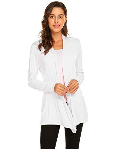 Newchoice Women's Long Lightweight Wrap Cardigans Sweaters Open Front Regular Plus Size (White, XXL)