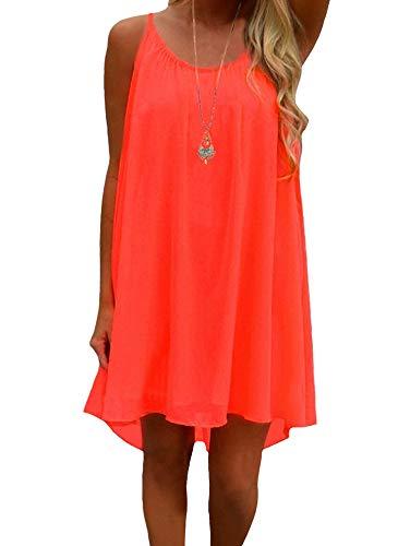 iToolai Women's Summer Casual Sundress Chiffon Sleeveless Tank Beach Shift Dress (3XL, Bright Coral)