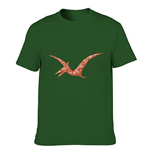 Low Poly Art Pterodactyl Herren T-ShirtsKurze HülsenTee Sommer Neuheit Logo Shirts Extra CoolT-Stücke Dark green001 3XL