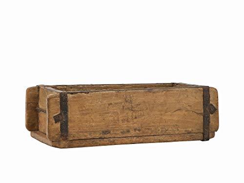 BigDean - Caja de Madera Envejecida con Forma de ladrillo (32 x 15 x 9,5 cm, con herrajes de Metal, Forma Real usada de la India, Madera Envejecida)