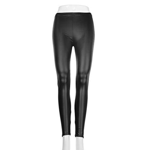 Banbie8409 Mode Stil Strumpfhosen Frauen Sexy Wet Look Glänzende PU Leder Leggings Hosen-Schwarz-