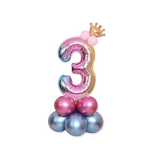 JinSu 3 Años Decoracion Globos de Cumpleaños, 14 PCS con Cumpleaños Globos Numero 3, Globos Foil y Globos de Látex para Cumpleaños, Año Nuevo, Bodas, Aniversario y Eventos