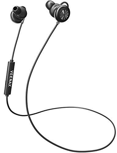 VEENAX Pogo Cuffie Bluetooth Senza Fili, Auricolari in-Ear Magnetiche Stereo con Microfono Sport Wireless Headphones Headset con bassi per iPhone iPad Android Smartphone Telefono Cellulare MP3, Nero