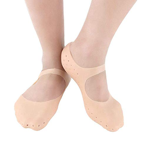 TOMYEER Gel Feuchtigkeitsspendende Socken Fuß Hautpflege Socken Silikon Atmungsaktive Socken wasserdichte Socken (beige)