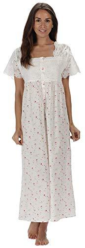 """The 1for U Nachthemd """"Elizabeth"""" für Damen, aus 100% Baumwolle, mit kurzen Ärmeln, erhältlich in 6Größen Gr. XL, Cream - Vintage Rose"""