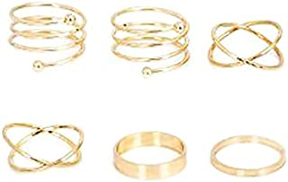 BESTPICKS Gold Plated 6 pcs/set Rings Punk Finger Rings Gift for Women