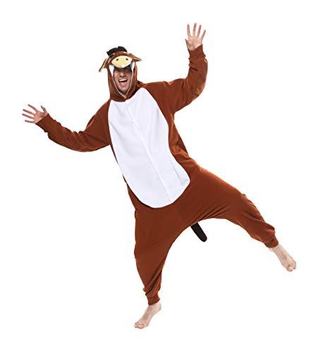 Novelcos Animal Donkey Pajamas Unisex Adult Cosplay Costumes Brown XL