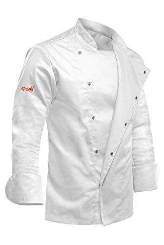 strongAnt - Chaqueta de Chef para Hombre, Manga Larga con Botones de presión Ocultos Chaqueta de Panadero - Estilo Delgado, Corte Entallado - Hecho en EU - Blanco, XL