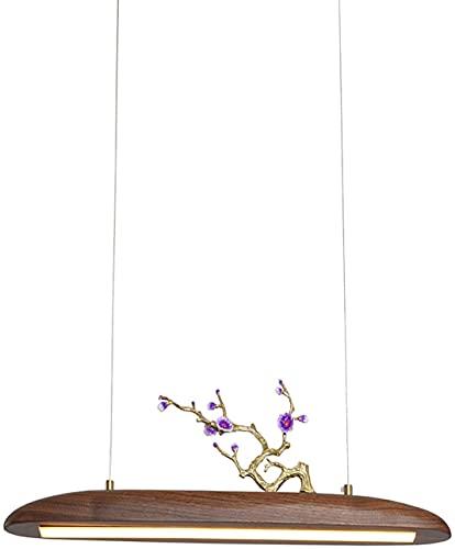 NZDY Lámpara Colgante Led Minimalista con Madera Iza, Lámpara Colgante Led de Nogal, Lámpara Colgante Creativa para Sala de Estar, Comedor, Alambre Ajustable de Re Y Nueces,Re Y Nueces,60X20Cm (24X8