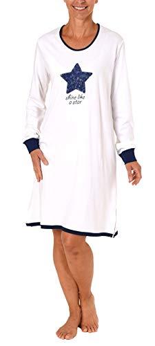 NORMANN WÄSCHEFABRIK Lässiges Damen Nachthemd Bigshirt Langarm mit Stern als Motivprint - 281 213 90 842, Farbe:Weiss, Größe2:36/38