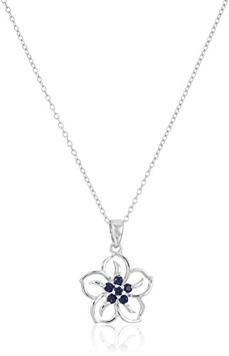 Sterling Silver Created Blue Sapphire Flower Pendant Necklace, 18