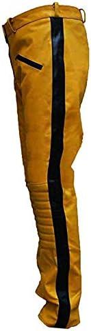 Genius E Super Hero/Super Star Pantalon en Cuir pour Homme Yellow Kill Bill Faux Leather Pant