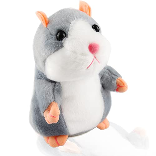 Elektronische Hamster Spielzeug, Sprechender Hamster-Spielzeug, Plüsch Hamster, Elektronische Tonaufnahme aus Plüsch, Interaktives Spielzeug für Baby Kinder, für Kinder Frühes Lern-Geschenk (Grau)