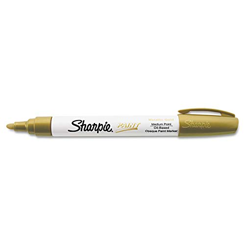 Sharpie Oil-Based Paint Marker, Medium Point, Metallic Gold, 1 Count - Great for Rock Painting