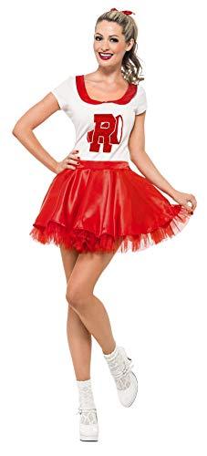 Smiffys Licenciado oficialmente Costume de pom-pom girl de Grease Sandy Rouge et blanc, avec jupe et haut