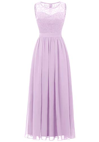 Dressystar 0046 Abendkleid Basic Chiffon Spitzen Ärmellos Brautjungfernkleider Bodenlang Lavender S