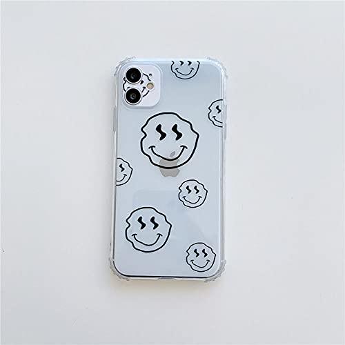 Estuche con Cadena de Metal Smile para iPhone 11 12 Pro MAX 12 Mini Carcasa de TPU Suave para iPhone XR XS MAX 7 8 6 6S Plus SE 2020 Funda, 1 Solo Estuche, para iPhone 12 Mini