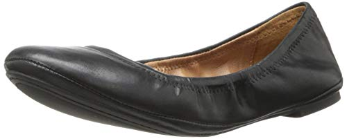 Lucky Brand Womens Emmie Ballet Flat, Black/Leather, 11 M US