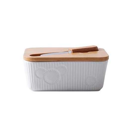 LJJOO Plato de mantequilla de porcelana con tapa de madera Mantequilla de mantequilla Mantequilla plato de mantequilla con cuchillo de mantequilla para encimera lavavajillas seguro Mantequillera