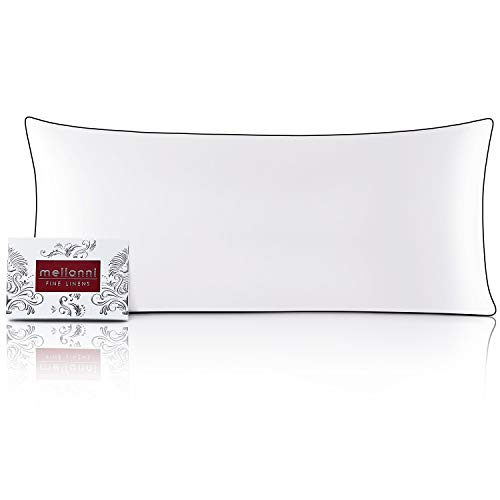 """Mellanni Silk Pillowcase for Hair and Skin - Both Sides 100% Pure Natural Mulberry Silk - 19 Momme - Hidden Zipper ClosurePillow Case- (Body 20"""" X 54"""", White, Black Piping)"""