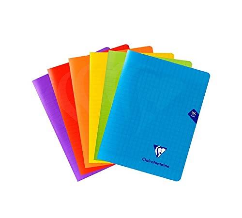 Clairefontaine 293741AMZC Lot de 6 Cahiers Agrafés Mimesys - 17x22 cm 96 Pages Grands Carreaux Papier Blanc 90 g - Couverture Polypro (Bleu, Rouge, Vert, Jaune, Violet, Incolore)
