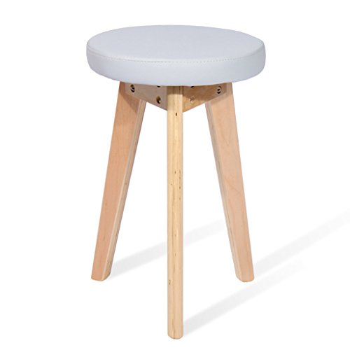 Tabouret en bois massif, tabouret de mode, simple tabouret en bois massif, tabouret en cuir (Design : B)