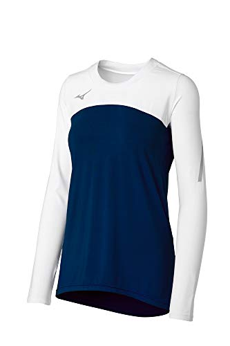 Mizuno Techno VII Damen Volleyball-Trikot, langärmlig, Marineblau, Größe S