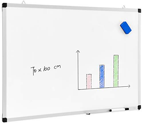 ACAZA Tableau Blanc Mémo magnétique, cadre en aluminium, avec 1 Marqueur et Porte-Marqueur, pour Ecole, Cuisine, Bureau - 70 x 100 cm