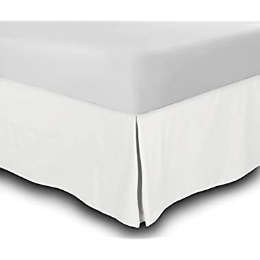 Bed Skirt Hotel Quality (Full, White 14 Inch Fall) - Iron Easy, Quadruple Pleated Quadruple Pleated, Wrinkle and Fade Resistant,100% Finest Quality by Lux Decor Collection (Full, White)