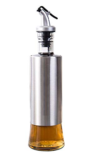 STAR WORK - 500 ML -Oil Vinegar Bottle for Kitchen, Stainless Steel Olive Oil Dispenser Cruet with Glass Bottom Pouring Spouts Soy Sauce Container for Kitchen (1)