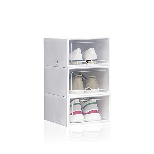 Cajas de zapatos Shoe Box recipientes para zapatos plegables transparentes apilables extraíbles de plástico contenedor reutilizable, 33,5 x 23 x 14,5 cm (3 unidades, blanco)