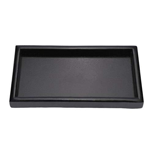 Bandeja de servicio para fiesta, Bandeja de comida para comer Bandejas de madera para mesa de centro y platos Bandeja negra(30 * 20 * 2cm)