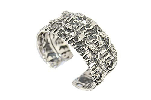 PH Brazalete de plata de ley 925 grabado a mano elefante 73 gramos P 700