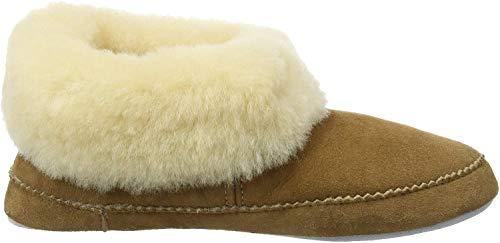 Shepherd of Sweden - Emmy Lammfell-Hausschuhe - Damen - 100% Echtes Lammfell - Bequem - Weich und warm - Flauschig - Chestnut - Größe 36