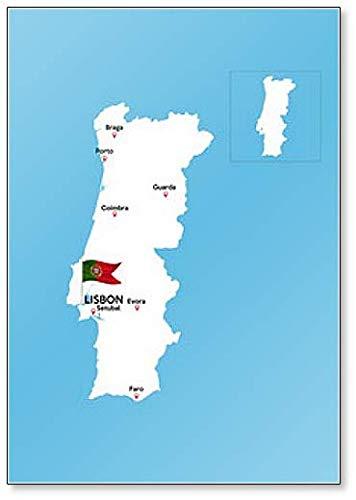 Mapa de Portugal con grandes ciudades – Imán clásico para nevera