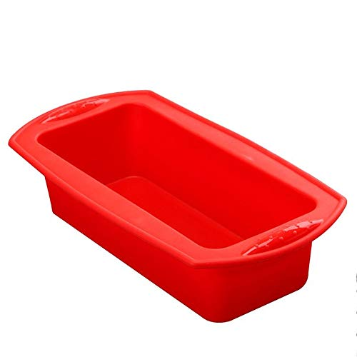 Rectangle Silicone Ciabatta Bread Cake Baking 8 inch Brownie Iasagna Cheesecake Toast Mini Bundt Pullman Loaf Pan pop Mold for Oven Nonstick Sandwich Containers (Red)